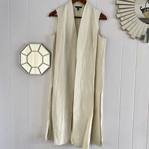 Eileen Fisher Cream Silk Linen Blend Long Vest XS